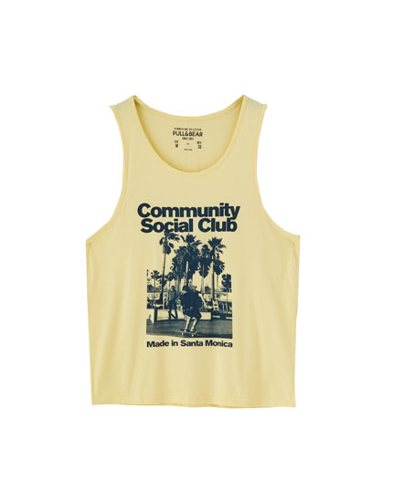 Yellow photo print vest top
