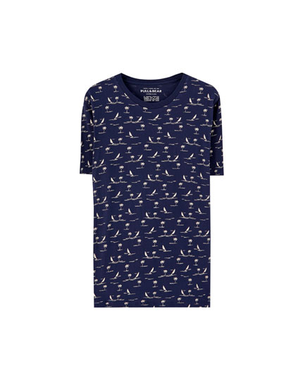 All-over sailboat print T-shirt