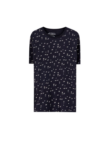 All-over bird print T-shirt