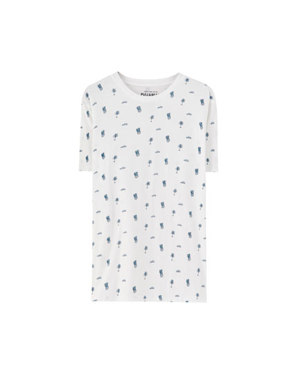 Shirt mit All-Over Ananasprint