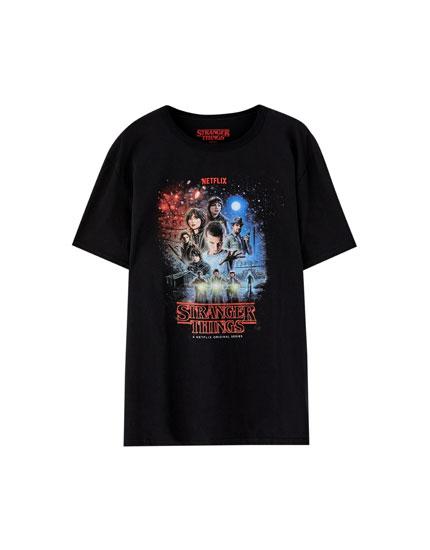 T-shirt Netflix Stranger Things med motiv med karakterer