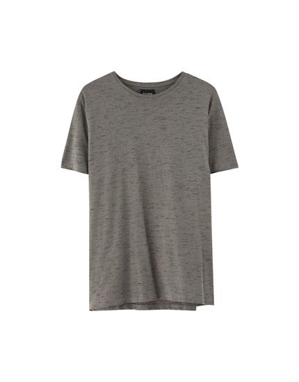 Camiseta básica manga corta efecto jaspeado