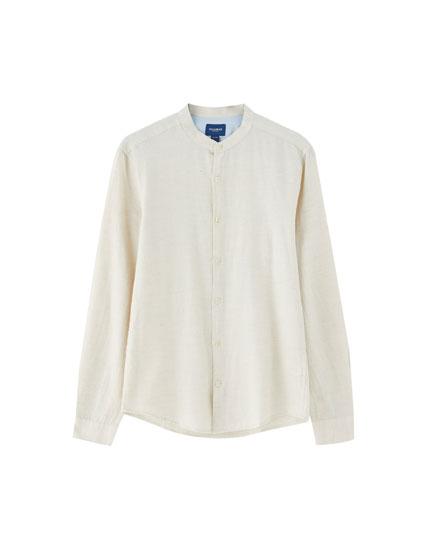Mandarin collar shirt with long sleeves