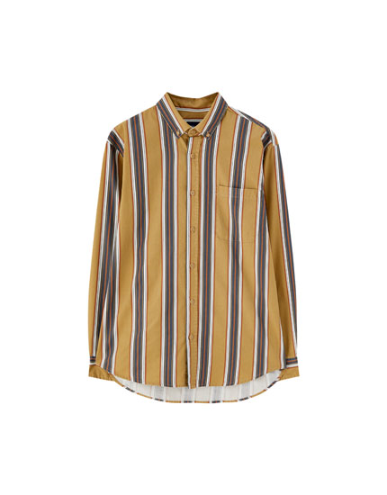 Twill shirt vertical stripes