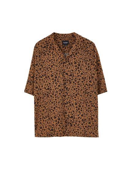 Animal print short sleeve shirt