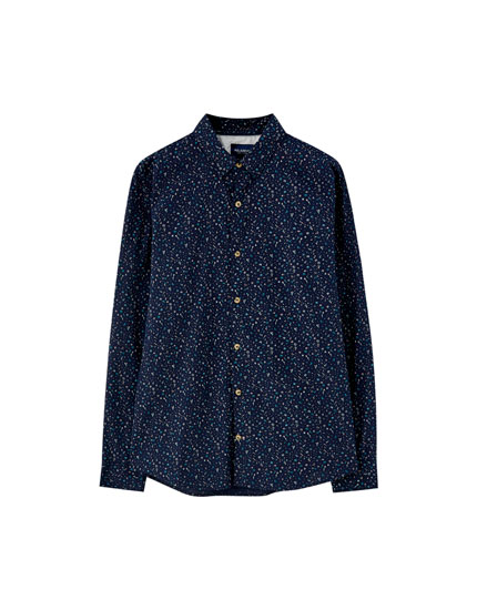 Basic printed poplin shirt