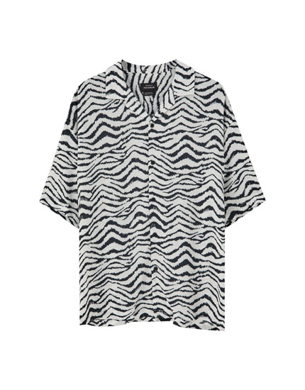 Short sleeve zebra print shirt