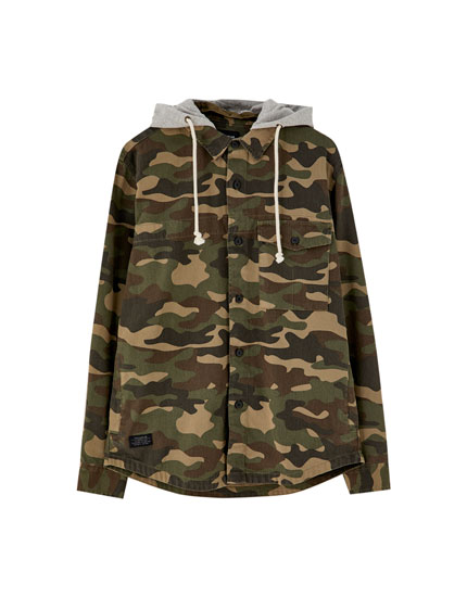 Camouflage overshirt with detachable hood