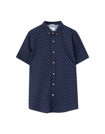 Short sleeve mini-print shirt