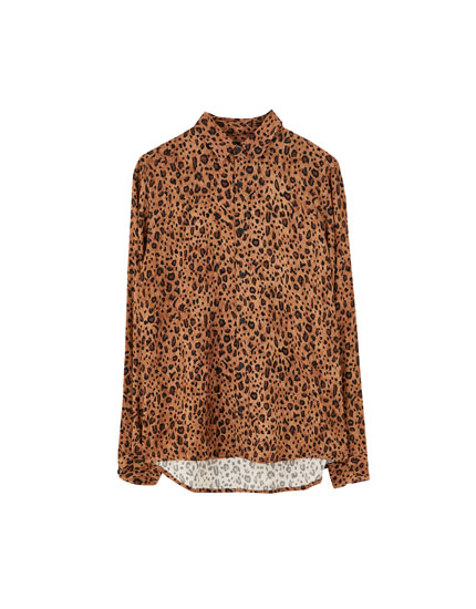 Button-up animal print shirt