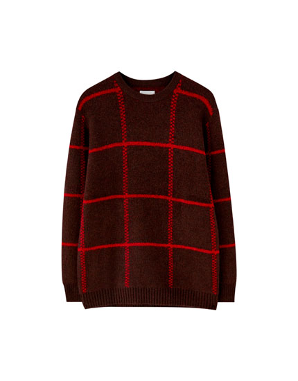 Burgundy check sweater
