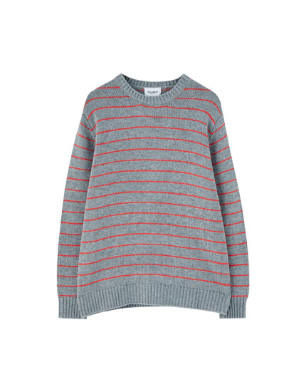 Navy blue sweater with fine stripe print