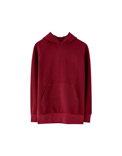 Sweatshirt med hætte i ottomanstrik