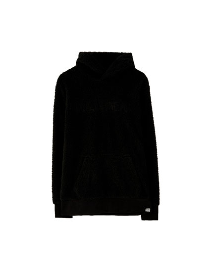 Faux shearling hoodie with logo