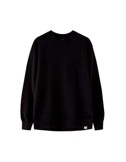 Basic kalın koton sweatshirt