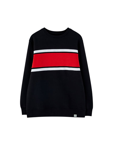 Black sweatshirt with striped panel