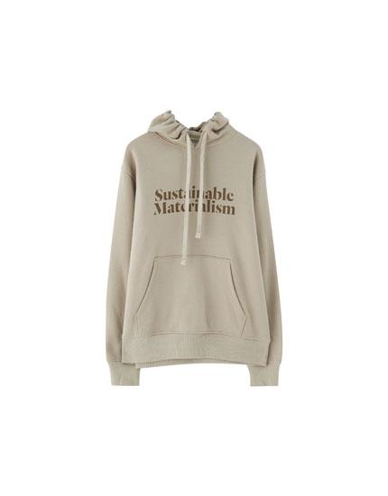 Sweatshirt med tekst og hætte Join Life