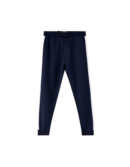 Jogging trousers with side taping and cuffs