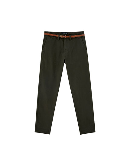 Skinny chino trousers with belt