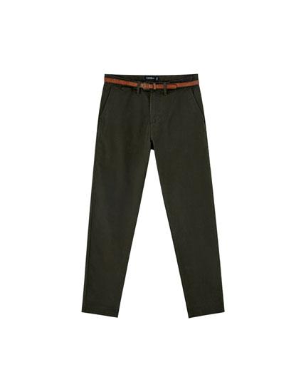 Pantalon chino skinny fit ceinture