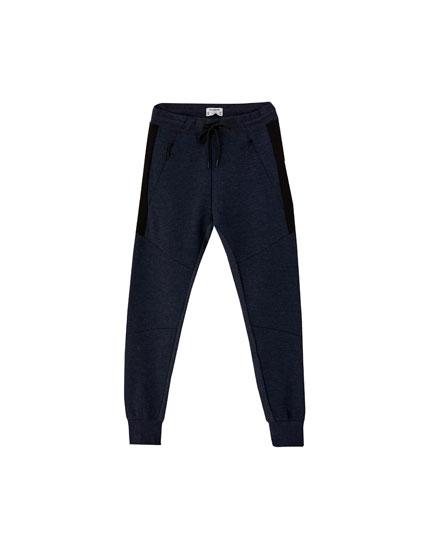 Drawstring ottoman jogging trousers