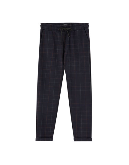Windowpane check jogging trousers