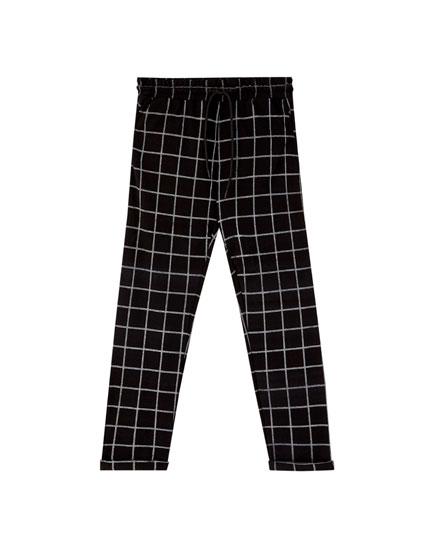Windowpane check jogging trousers
