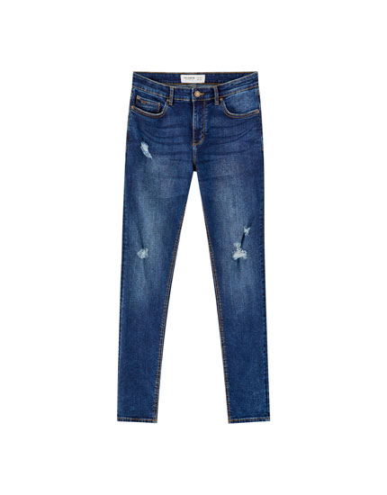 Jeans super skinny fit azul rotos