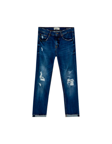 Jeans slim comfort fit rotos