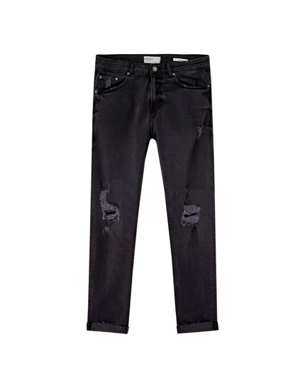 Slim comfort fit jeans with rips
