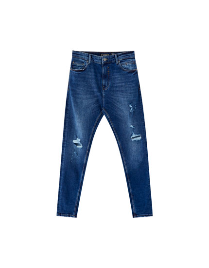 Jeans carrot fit premium azul oscuro