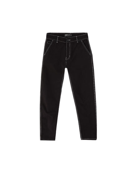 Black jeans with contrast seams
