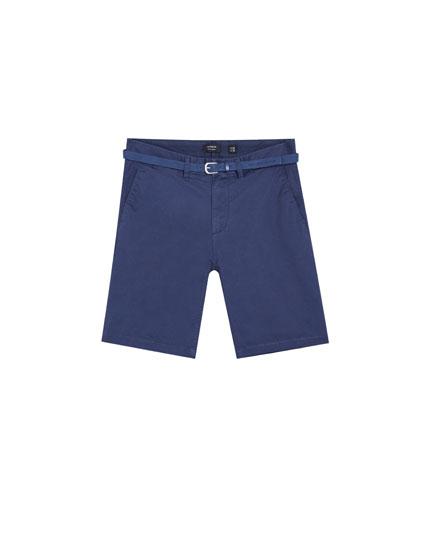 Calções bermuda tailored fit cinto
