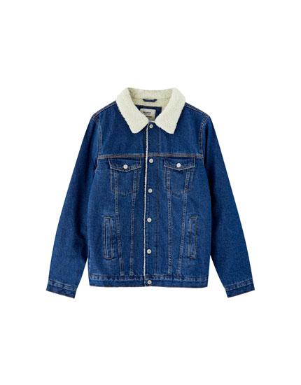 Denim jacket with a fleece collar