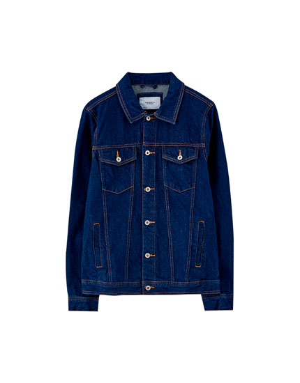 Dark blue denim trucker jacket