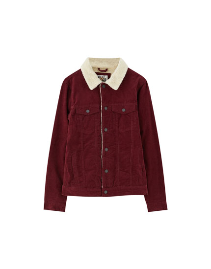 Corduroy jacket with faux-shearling-lined collar