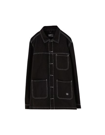 Denim jacket with contrast seams
