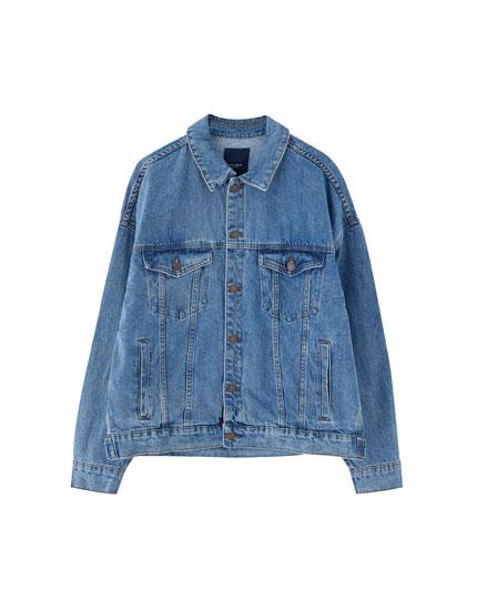 Denim jacket with drop shoulders