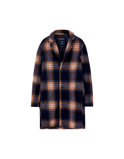 Navy blue check woolly fabric coat