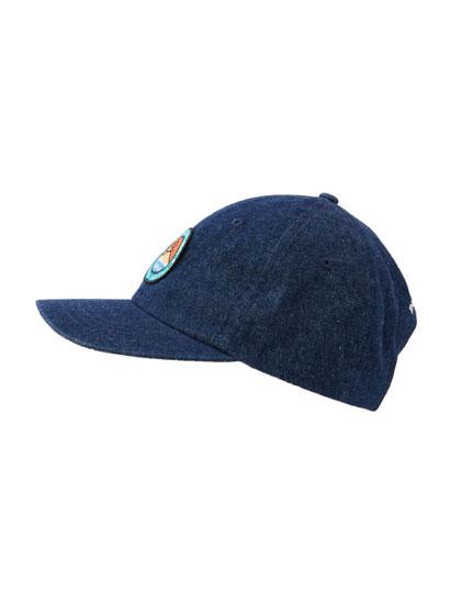 Denim cap with patch