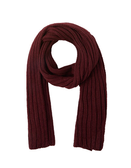 Coloured ribbed scarf