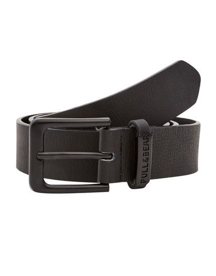 Black faux leather belt with loop