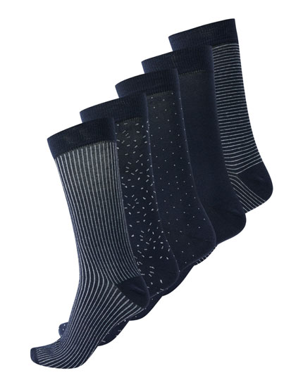 5-pack ong navy socks stripespolka dots.