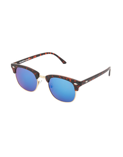 Blue lens tortoiseshell-effect sunglasses