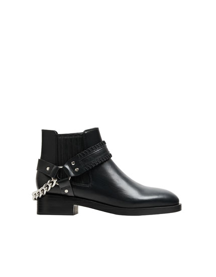 Ankle boots with chain detail