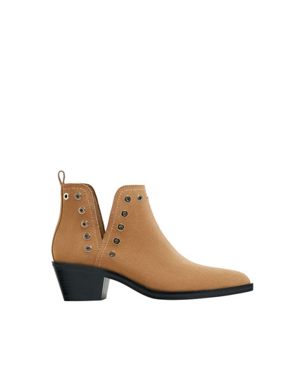 Sand-coloured cut-out leather ankle boots