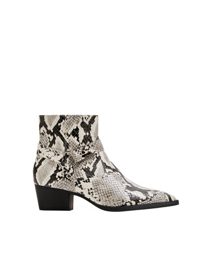 Animal print cowboy ankle boots