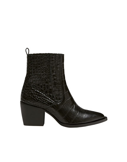 Black mock croc ankle boots