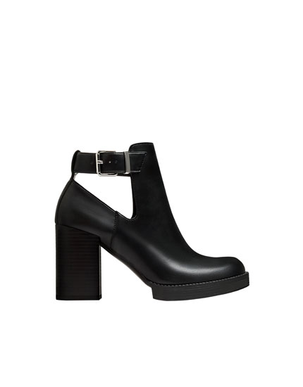 High-heel ankle boots with ankle strap detail