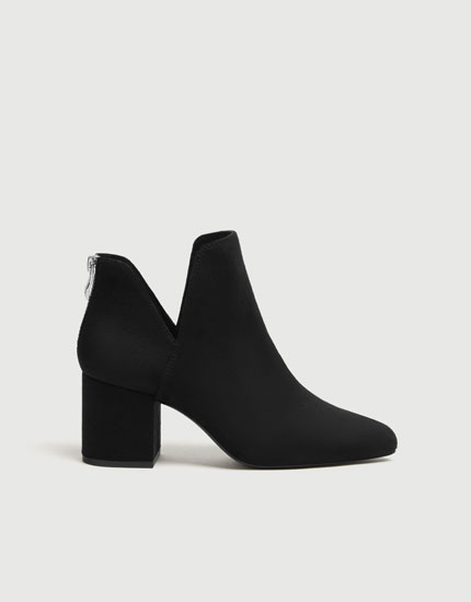 Black cut-out high-heel ankle boots